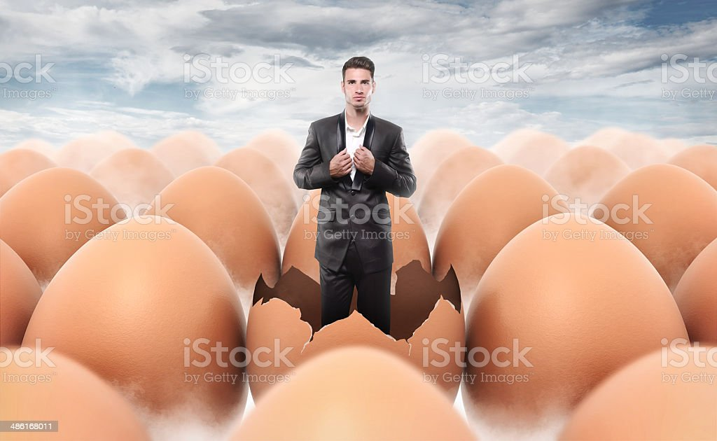 New man born from an egg shell stock photo