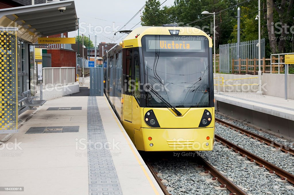 New Manchester Materolink tram station stock photo