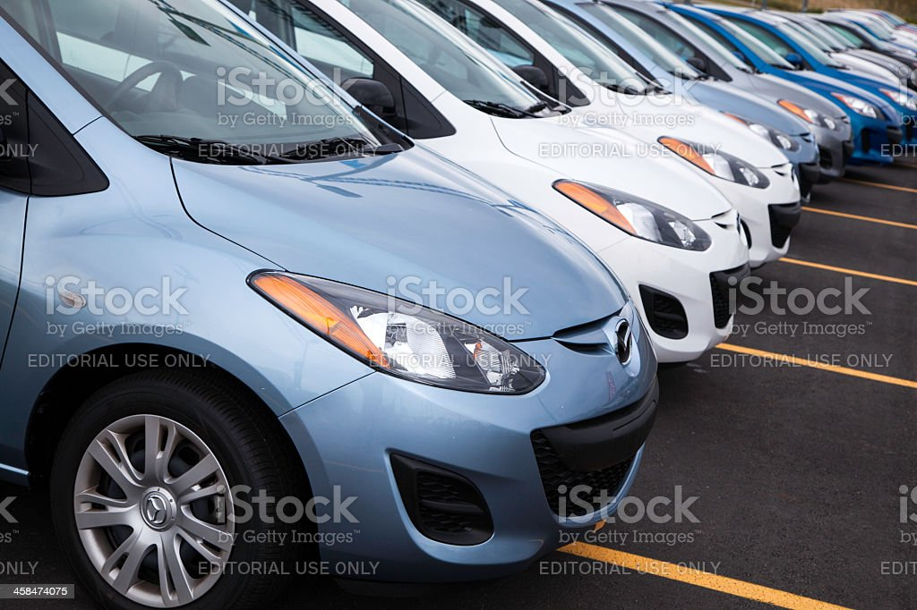 New Mazda 2 Vehicles in a Row royalty-free stock photo