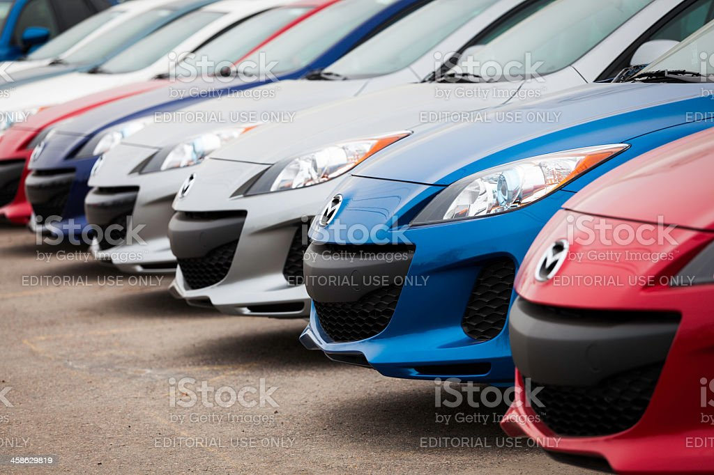 New Mazda 3 Vehicles in a Row stock photo