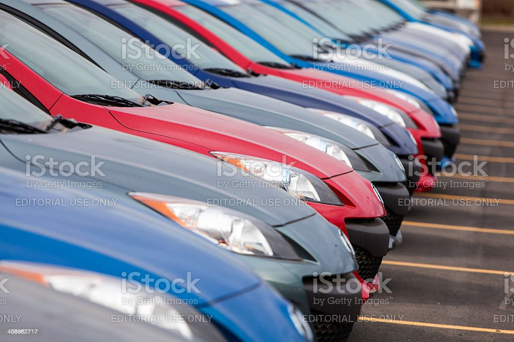 New Mazda 3 Vehicles in a Row royalty-free stock photo