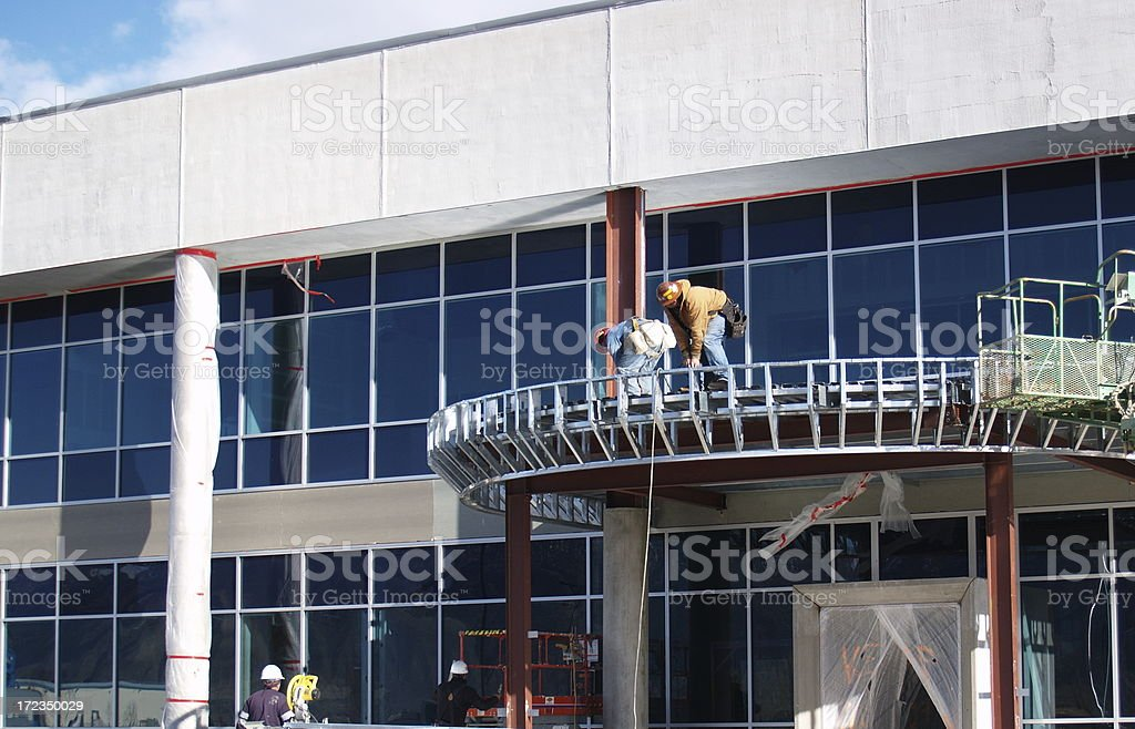 New Medical Building Under Construction Men royalty-free stock photo