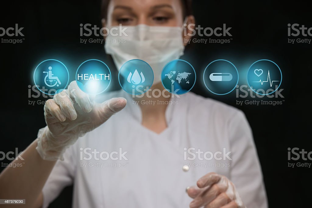 New medical concept of computer interfacing with doctor stock photo