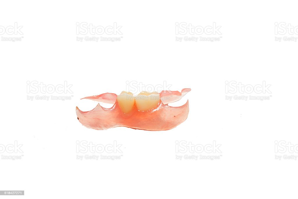 New medical denture smile white white teeth stock photo
