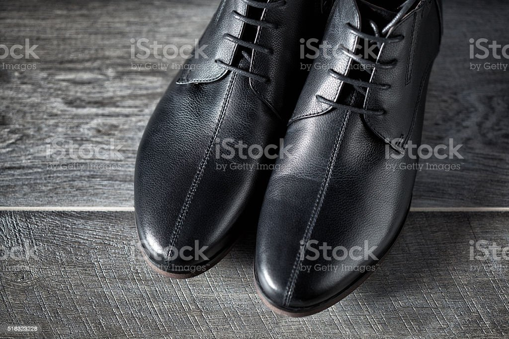 New men leather black shoes stock photo