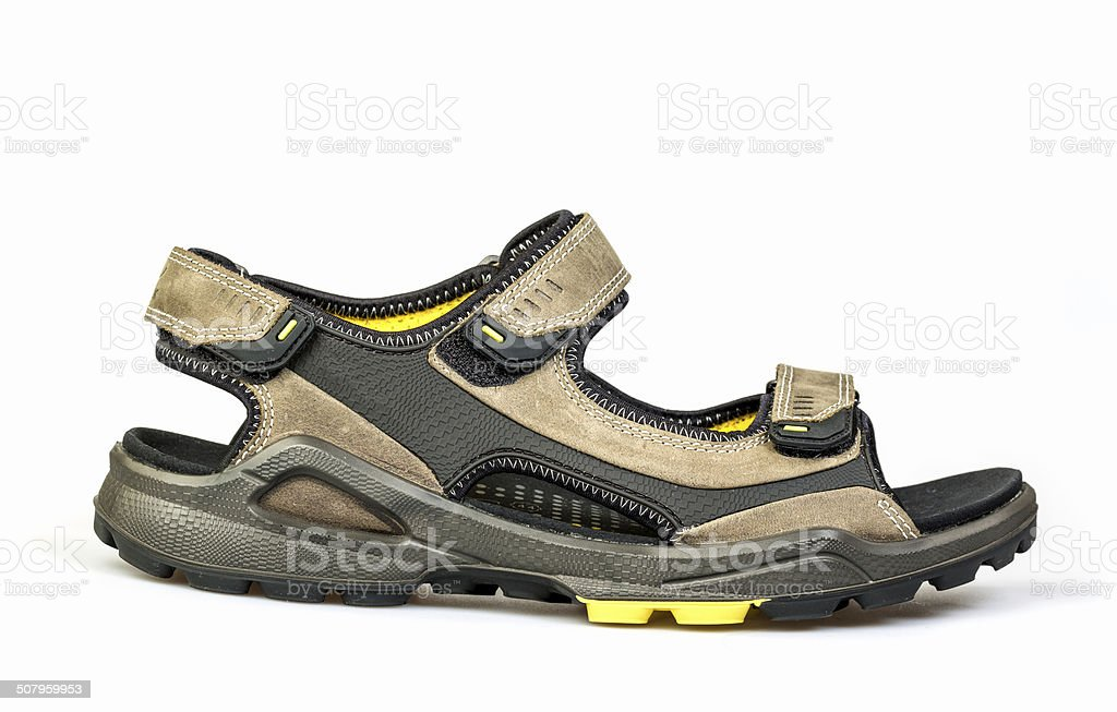 new men's sandals on a white background stock photo