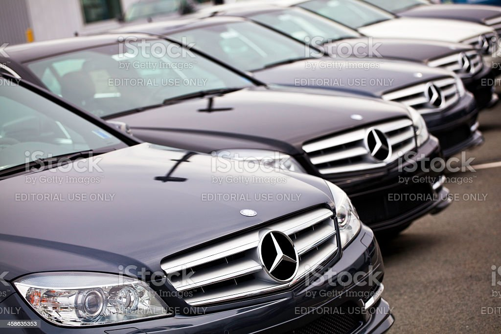 New Mercedes Benz C-Class Vehicles in a Row stock photo