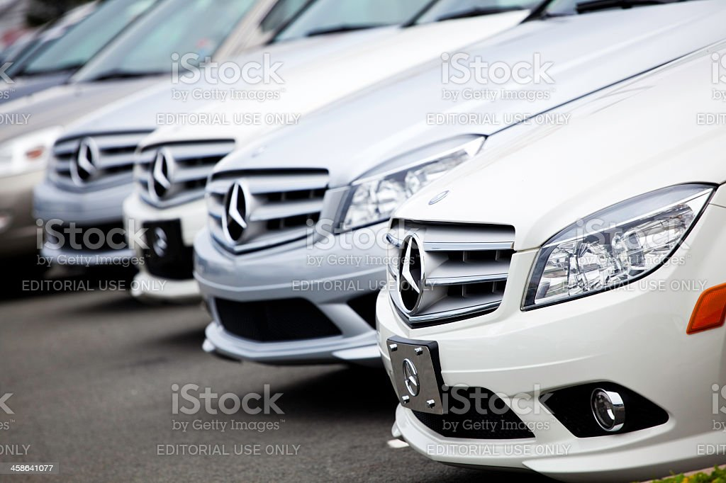 New Mercedes Benz Vehicles in a Row stock photo