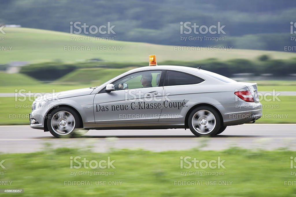 New Mercedes C class Coupe speeding royalty-free stock photo
