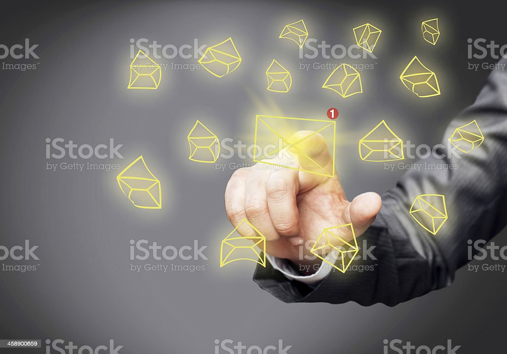 New message icon on screen stock photo