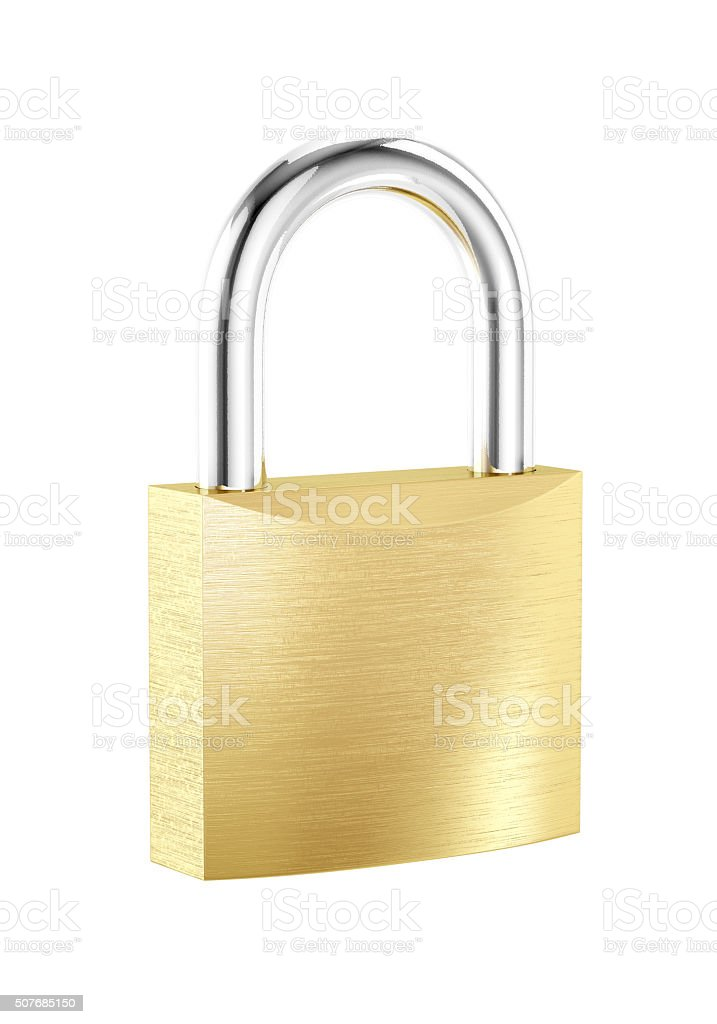 New metal locked padlock isolated on white background stock photo