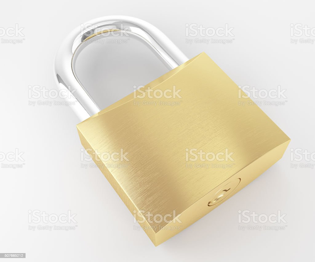 New metal locked padlock laying and isolated on white background stock photo