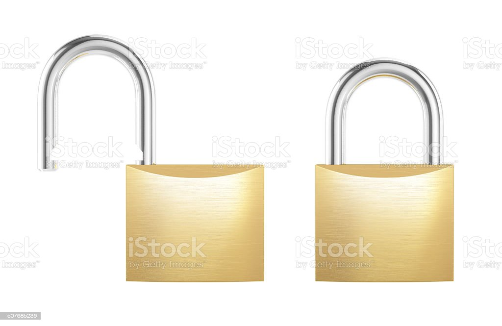 New metal opened and locked padlock isolated on white background stock photo