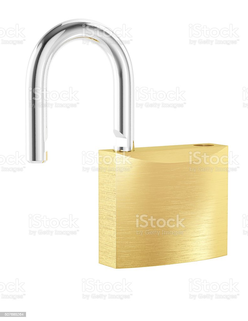 New metal opened padlock isolated on white background stock photo