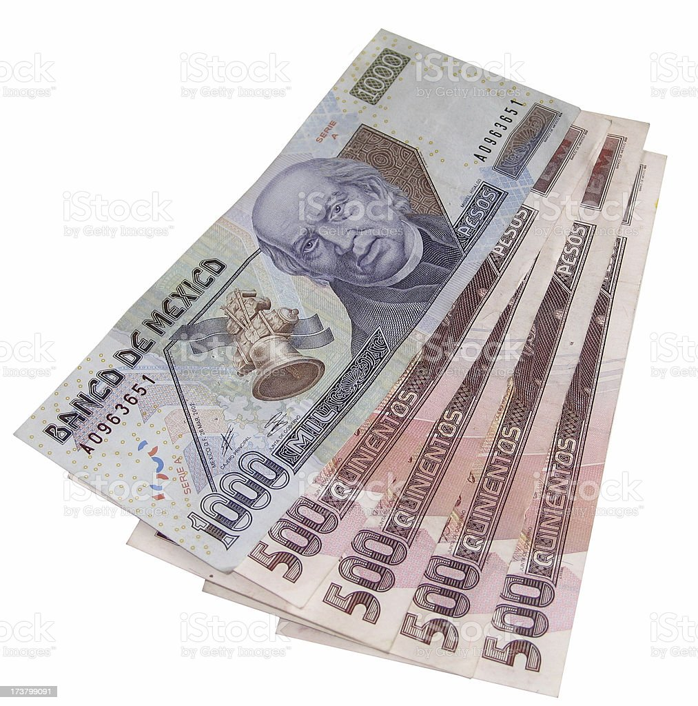 New Mexican Peso Bills ( Clip Path ) stock photo