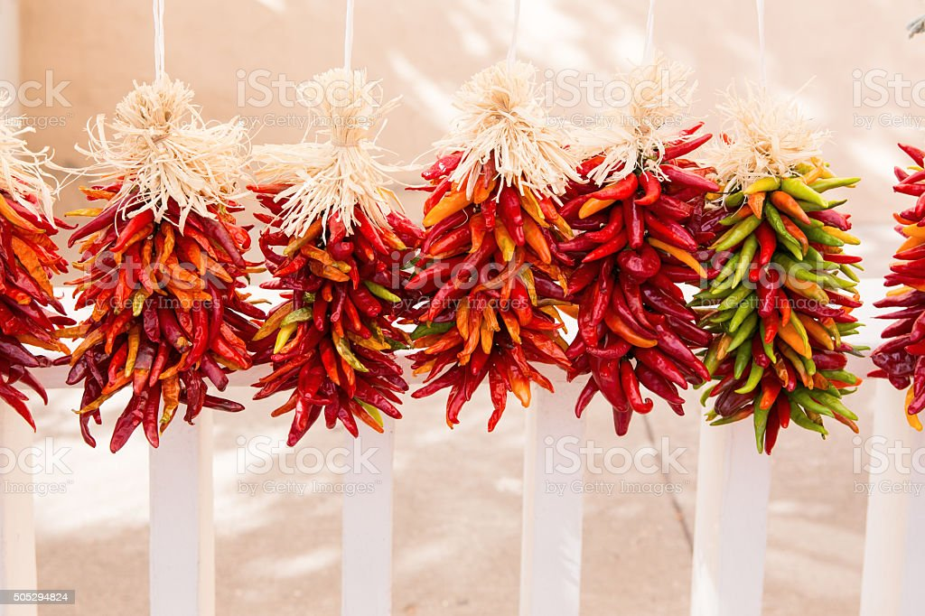 New Mexico Chilies hanging on a fence to dry. stock photo