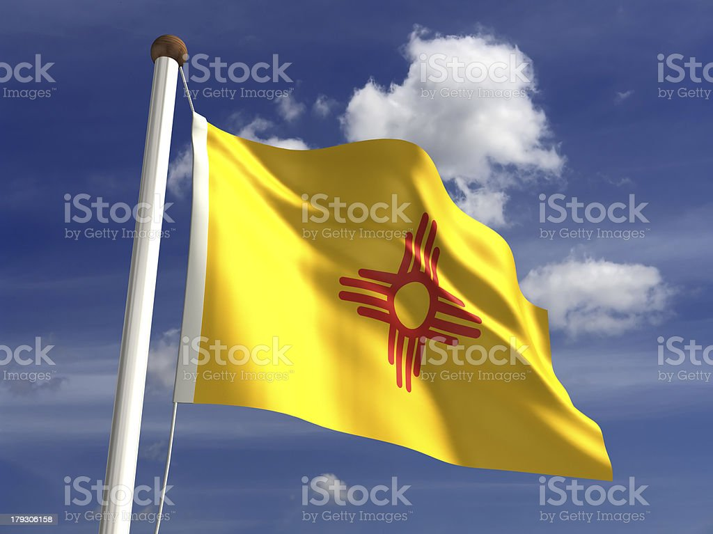 New mexico flag (with clipping path) royalty-free stock photo
