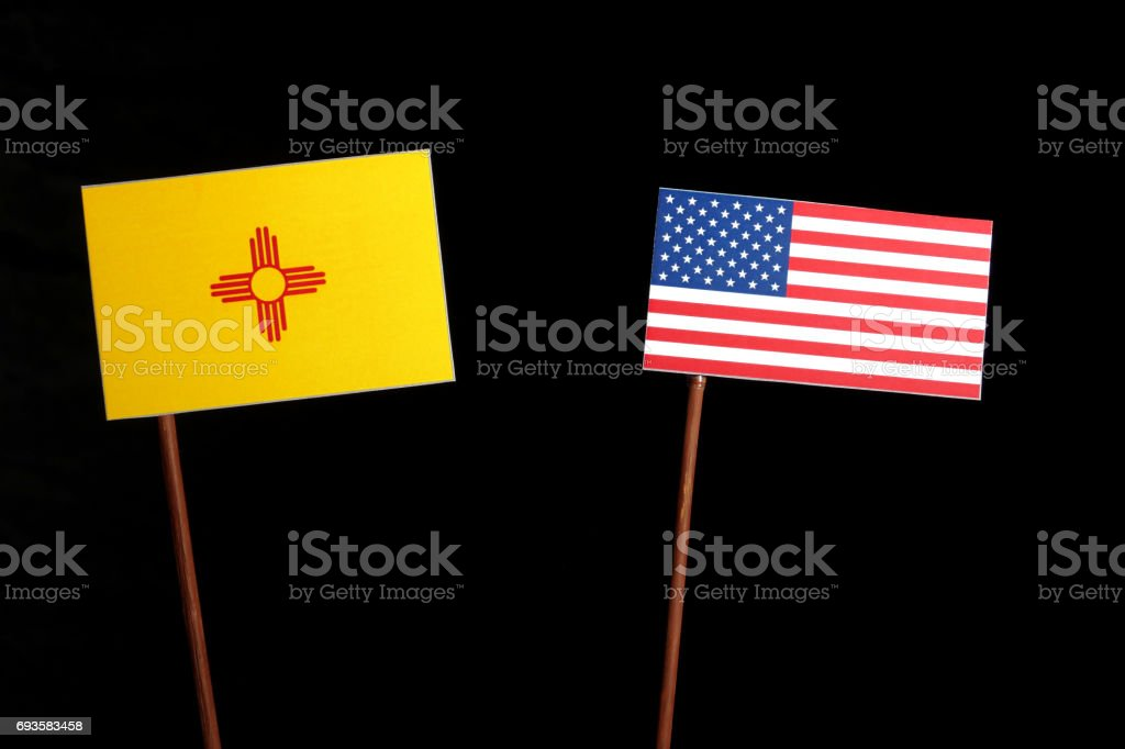 New Mexico flag with USA flag isolated on black background stock photo
