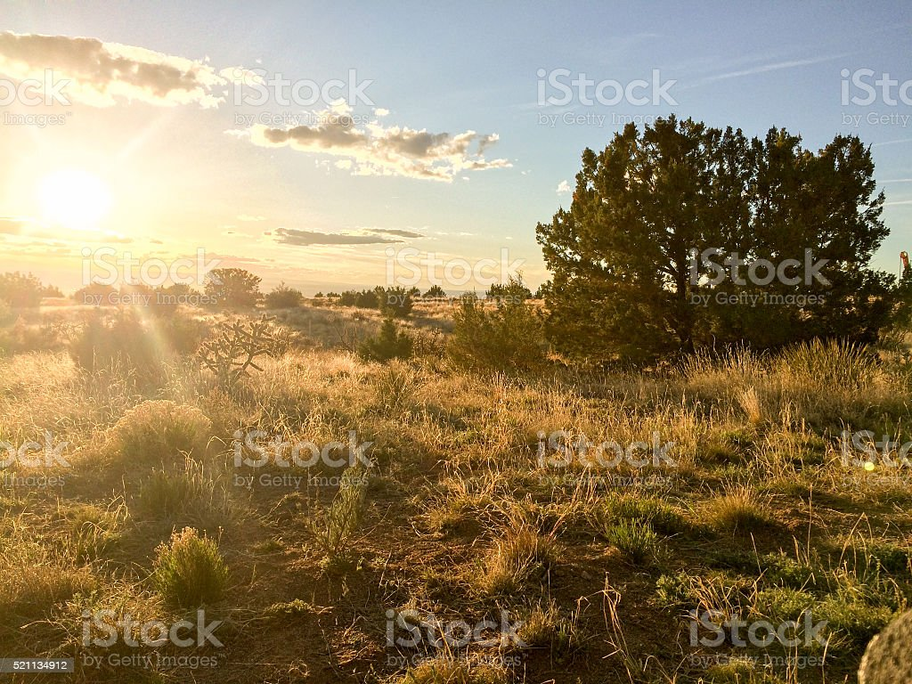 new mexico nature landscape sunset stock photo