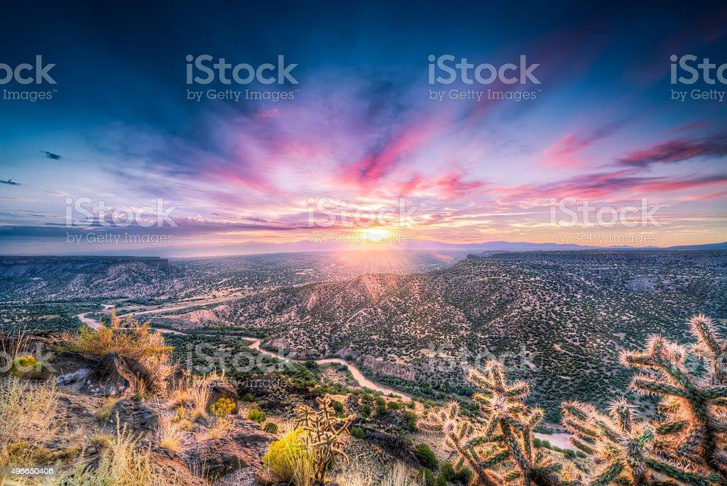 New Mexico Sunrise Over the Rio Grande River stock photo