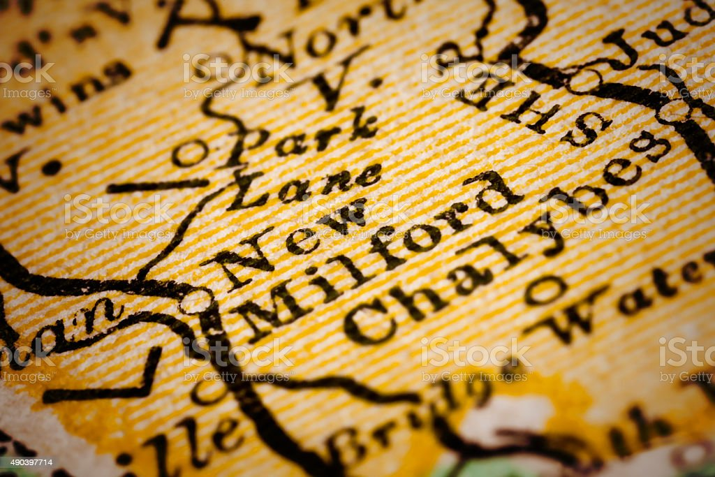 New Milford, Connecticut on an Antique map stock photo