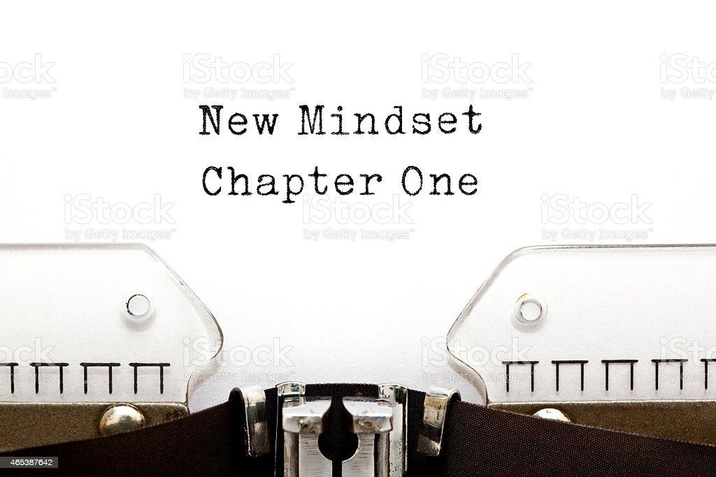 New Mindset Chapter One Typewriter stock photo