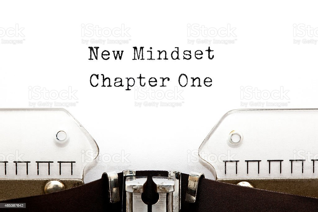 New Mindset Chapter One Typewriter stock photo