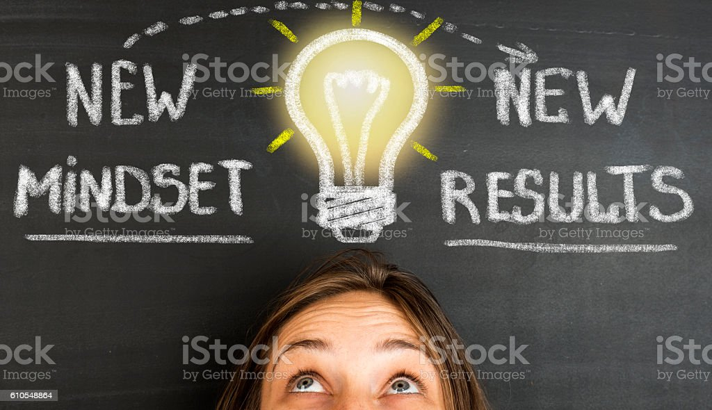 New Mindset New Results concept on blackboard stock photo