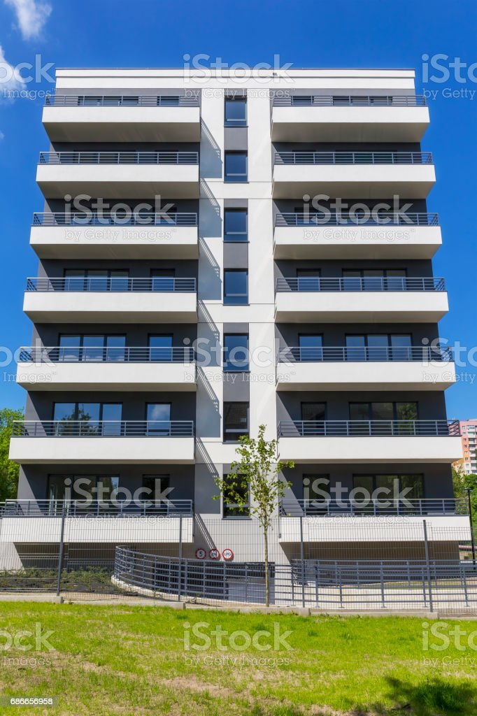 New Modern Apartment Building Facade Foto Royalty Free