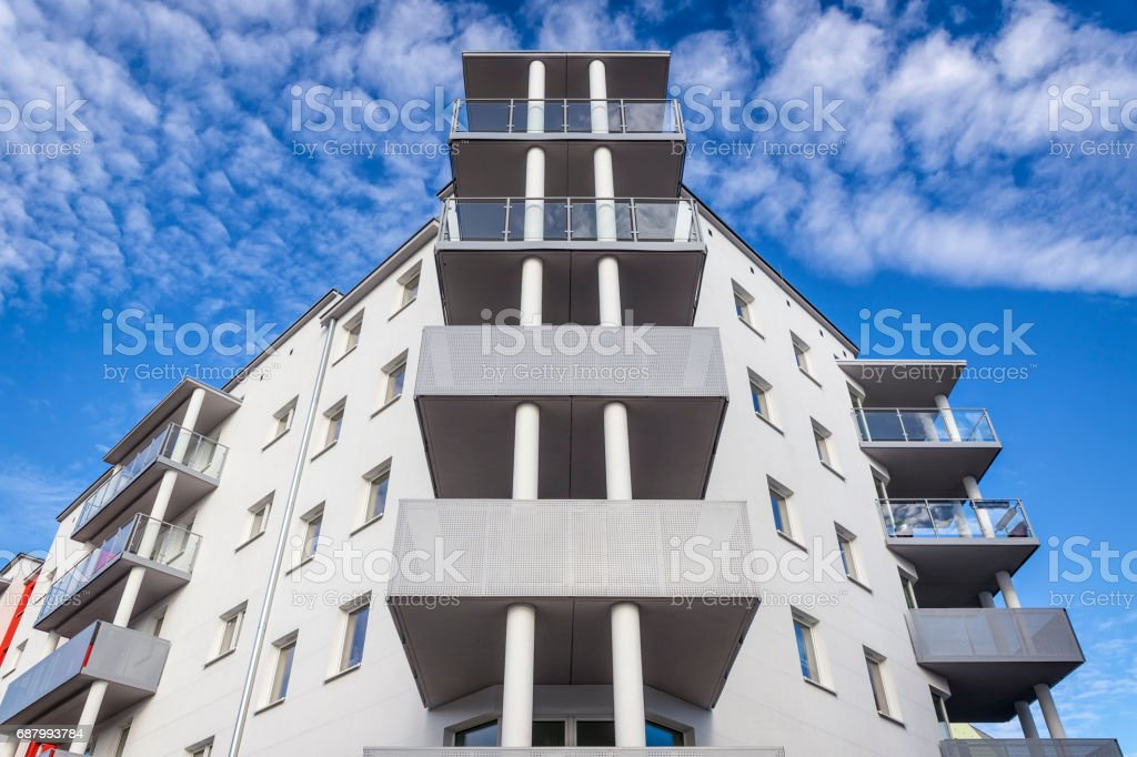 New modern apartment building facade stock photo