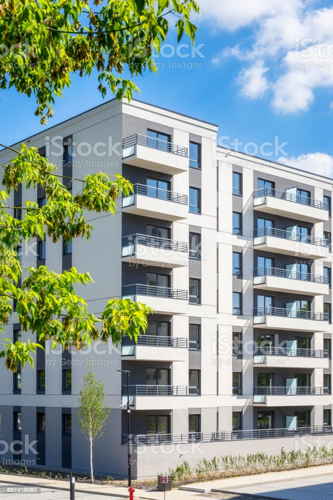 New modern apartment building stock photo