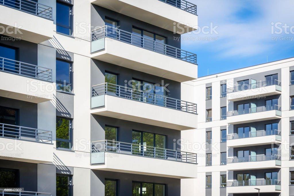 New modern apartment buildings facade stock photo