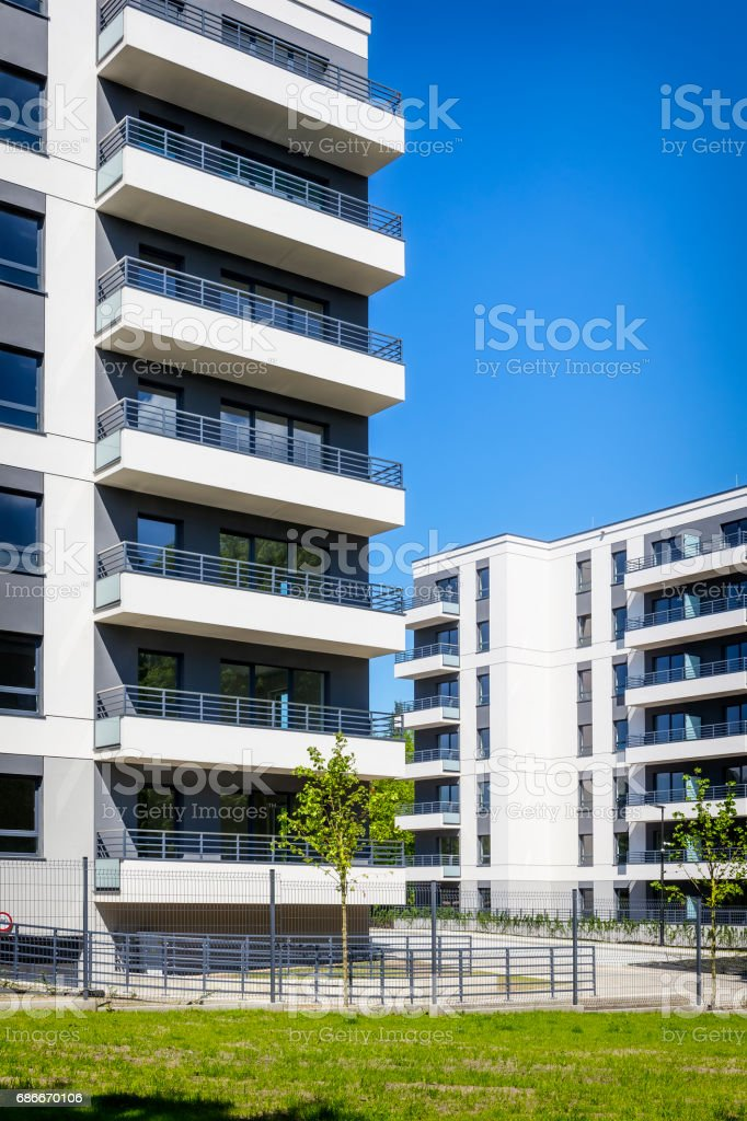 New modern apartment buildings stock photo