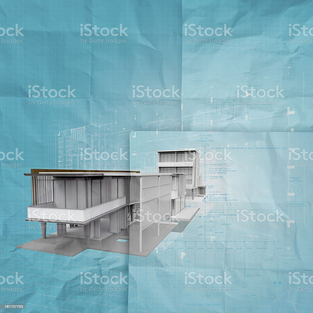 new modern architectura 3d on crumpled paper royalty-free stock photo