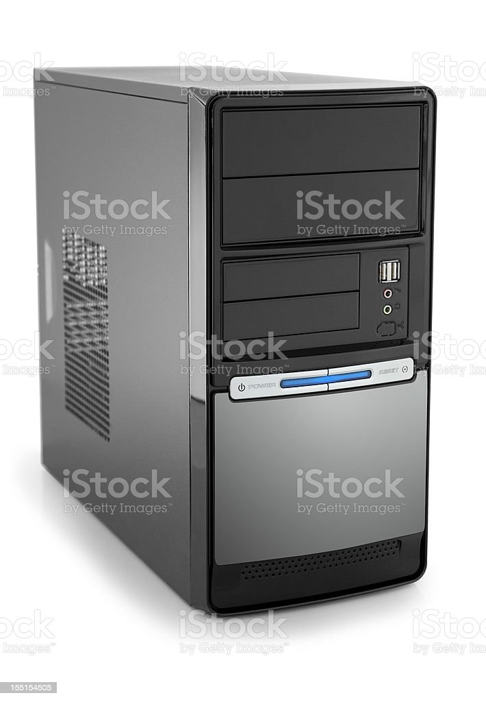 New modern black pc tower with copyspace isolated on white stock photo