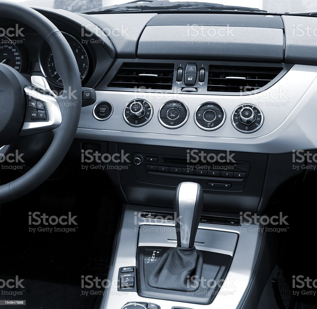 new modern car interiour (air condition, automatic) stock photo