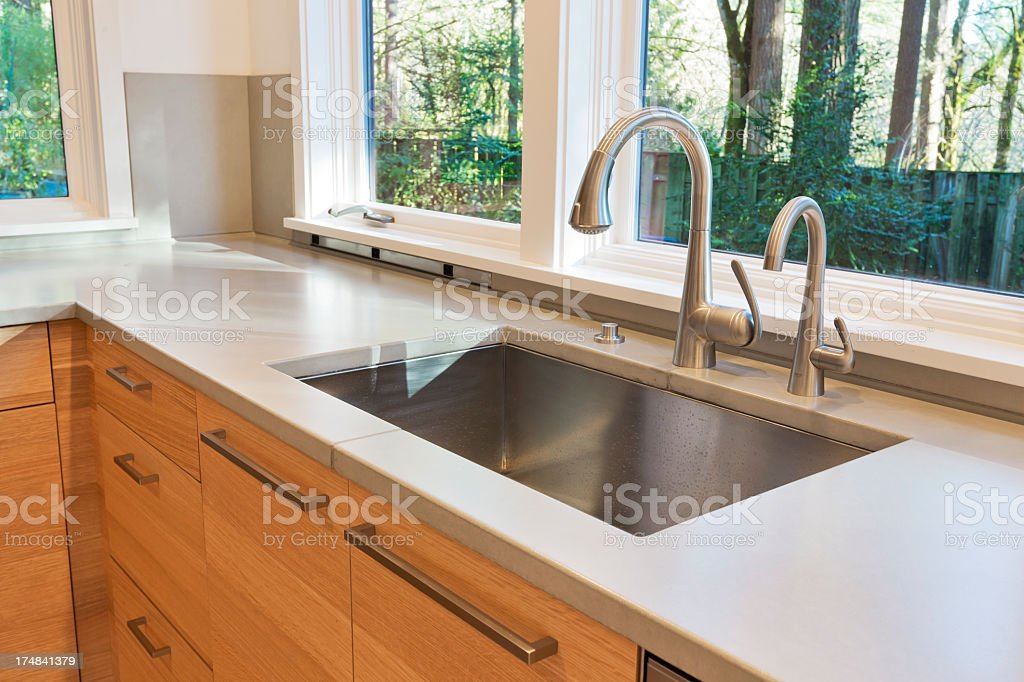New modern clean kitchen counter with sink stock photo