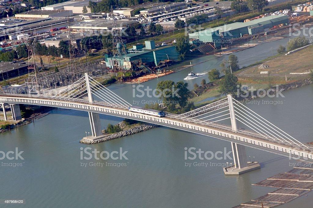 New Modern Design Railroad Bridge Over Fraser River stock photo