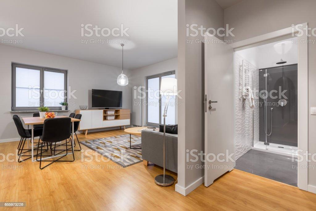 New, modern flat stock photo