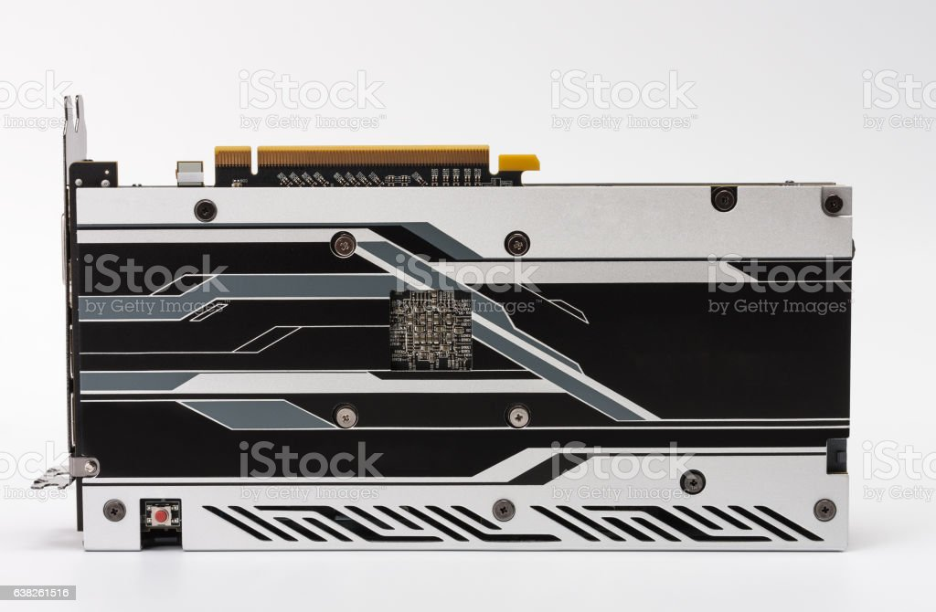 New modern gaming graphics card on white stock photo