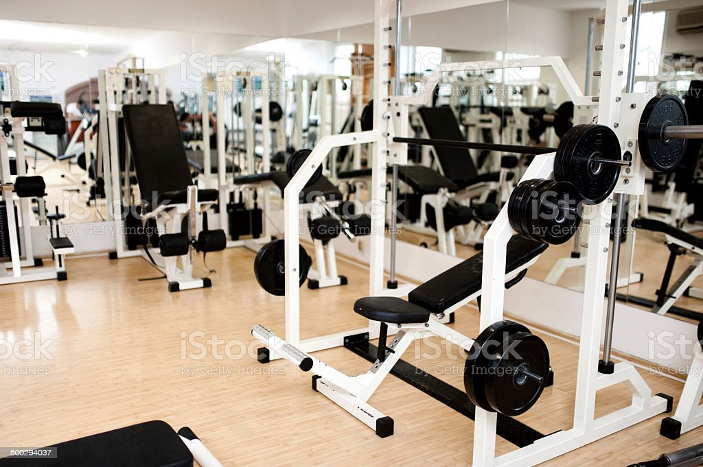 new modern gym and fitness club with sport equipment stock photo