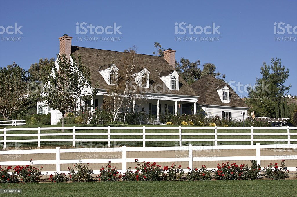 New Modern Home Facade and Yard stock photo