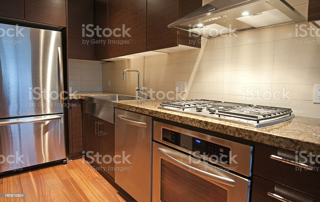 Newly finished kitchen with modern cooking equipments and granite...