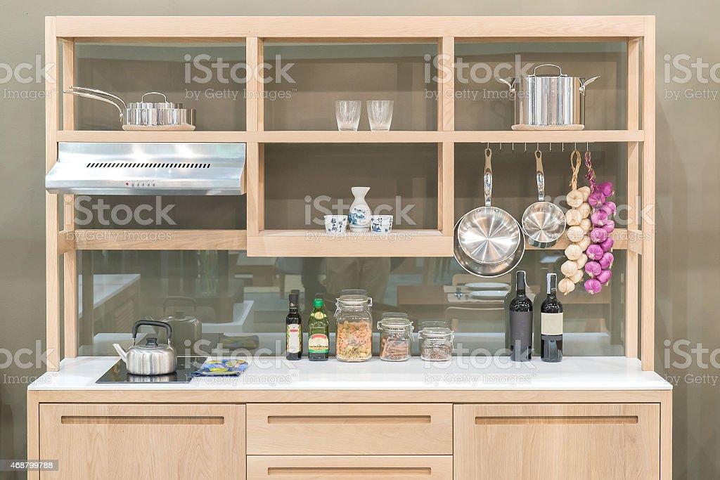 New modern kitchen with wood shelf style stock photo