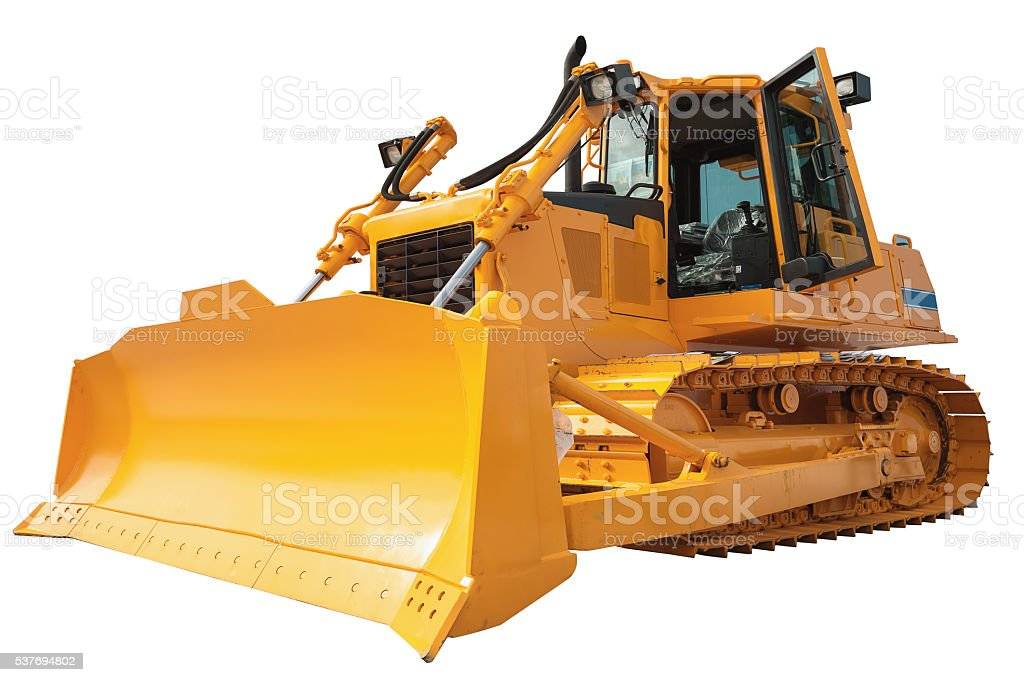 New modern loader or bulldozer - excavator isolated with clippin stock photo