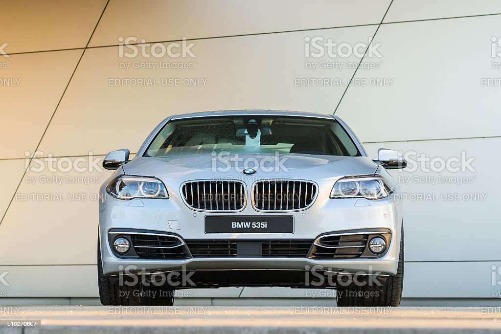 New modern model of BMW 535i business class sedan stock photo