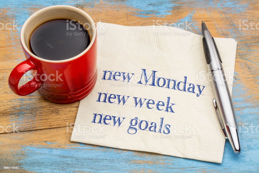 New Monday, week, goals stock photo