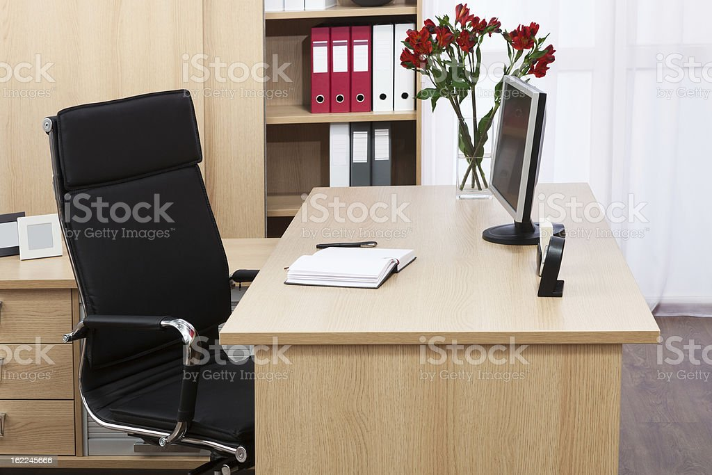 new monitor on a desk royalty-free stock photo