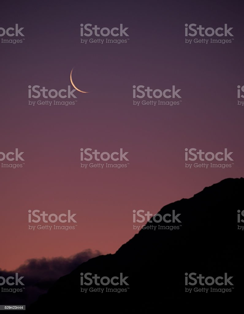 New Moon Over The Southern Alps stock photo