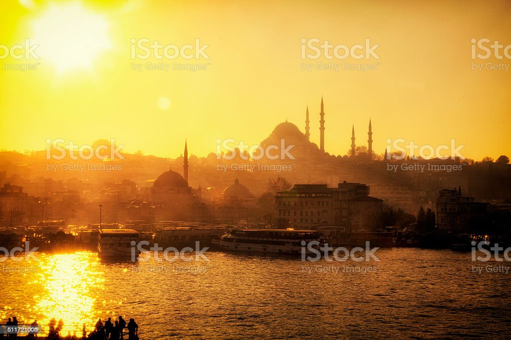 New Mosque and Golden Horn Bay in Istanbul, Turkey stock photo